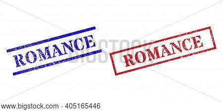 Grunge Romance Rubber Stamps In Red And Blue Colors. Seals Have Rubber Texture. Vector Rubber Imitat