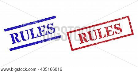 Grunge Rules Rubber Stamps In Red And Blue Colors. Stamps Have Rubber Surface. Vector Rubber Imitati