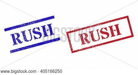 Grunge Rush Rubber Stamps In Red And Blue Colors. Stamps Have Draft Surface. Vector Rubber Imitation