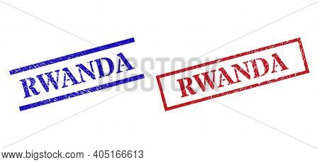 Grunge Rwanda Rubber Stamps In Red And Blue Colors. Stamps Have Rubber Style. Vector Rubber Imitatio
