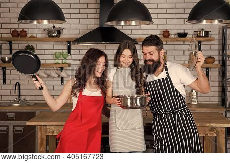 Cooking Concept. Prepare Delicious Breakfast. Lunch Time. Family Having Fun Cooking Together. Teach