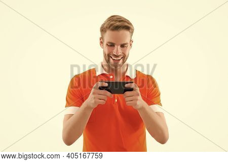 Keep Calm And Game On. Happy Guy Play Mobile Game Isolated On White. Online Video Game Playing. Gami