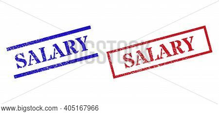 Grunge Salary Stamp Seals In Red And Blue Colors. Seals Have Rubber Style. Vector Rubber Imitations