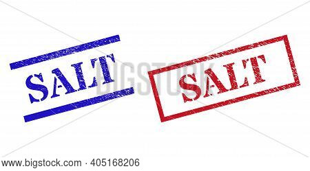 Grunge Salt Stamp Seals In Red And Blue Colors. Seals Have Rubber Style. Vector Rubber Imitations Wi