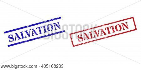 Grunge Salvation Rubber Stamps In Red And Blue Colors. Stamps Have Distress Texture. Vector Rubber I