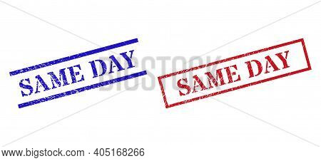 Grunge Same Day Seal Stamps In Red And Blue Colors. Seals Have Rubber Texture. Vector Rubber Imitati