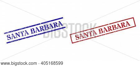 Grunge Santa Barbara Rubber Stamps In Red And Blue Colors. Stamps Have Rubber Surface. Vector Rubber