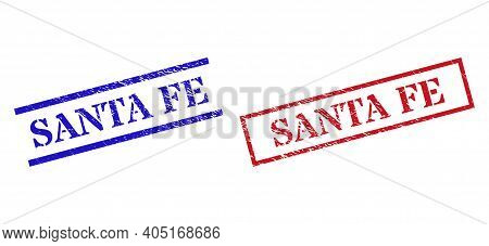 Grunge Santa Fe Seal Stamps In Red And Blue Colors. Stamps Have Draft Style. Vector Rubber Imitation