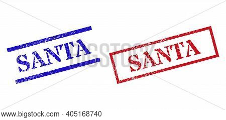 Grunge Santa Seal Stamps In Red And Blue Colors. Stamps Have Rubber Style. Vector Rubber Imitations