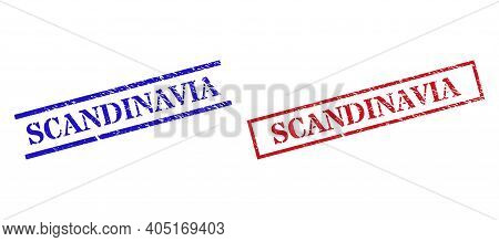 Grunge Scandinavia Stamp Seals In Red And Blue Colors. Seals Have Rubber Style. Vector Rubber Imitat