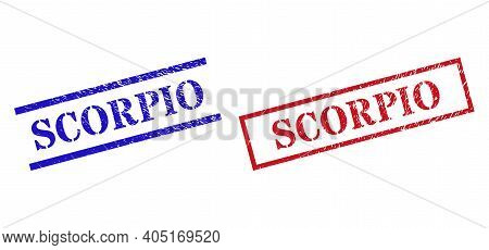 Grunge Scorpio Rubber Stamps In Red And Blue Colors. Stamps Have Rubber Surface. Vector Rubber Imita