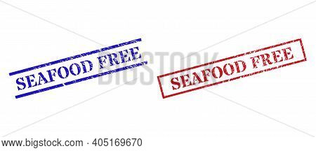 Grunge Seafood Free Rubber Stamps In Red And Blue Colors. Seals Have Distress Surface. Vector Rubber