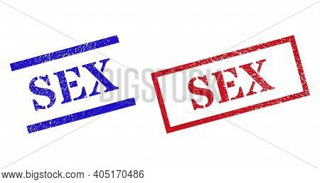 Grunge Sex Rubber Stamps In Red And Blue Colors. Stamps Have Rubber Texture. Vector Rubber Imitation