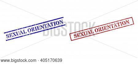 Grunge Sexual Orientation Rubber Stamps In Red And Blue Colors. Stamps Have Draft Style. Vector Rubb