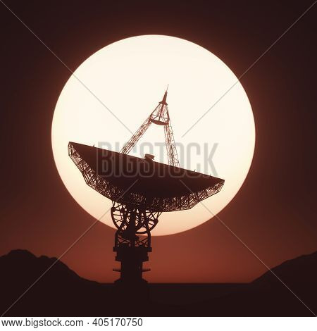 Giant Satellite Dish Silhouette Facing The Sunset. 3d Illustration With Clipping Path Included.