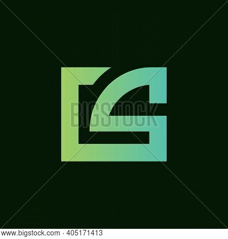 Abstract Initial Letter Cs Or Sc Logo, Rectangle Shape Monogram, Flat Style Typography Symbol