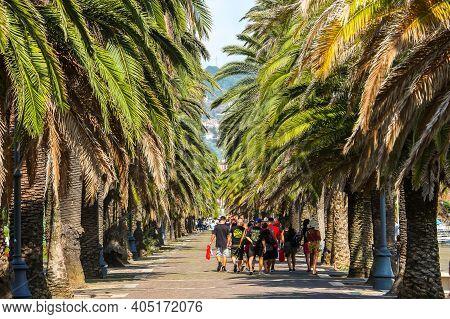 La Spezia, Italy - Circa September 2018. Walkpath Along The Ligurian Sea In La Spezia.
