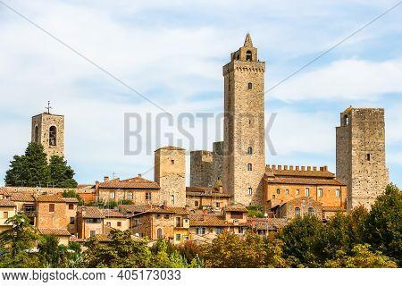 San Gimignano, Italy - Circa September 2018. Beautiful Architecture Of San Gimignano, Small City In