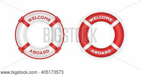 Realistic Red And White Boat Lifebuoy Rings. 3d Lifebuoys. Rescue Life Belt Illustration