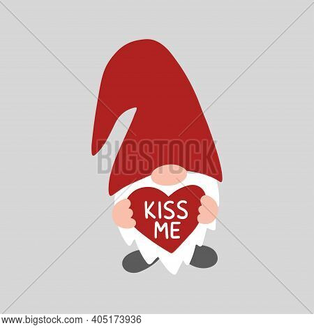 Valentine Gnome Isolated On White Background. Valentines Day Holiday Vector Illustration. Riss Me. C