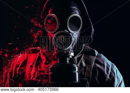 Photo Of A Stalker Face In Soviet Old Gas Mask With Filter And Red Highlights Dissolving On Black Ba