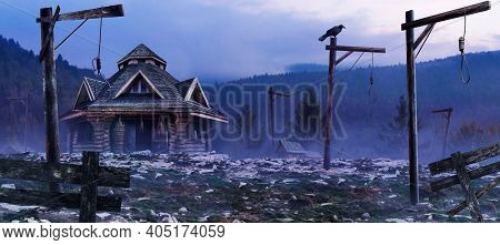 Horror Background Image Of Fantasy Witch House Standing On Evening Mountain Woods Land With Gallows,