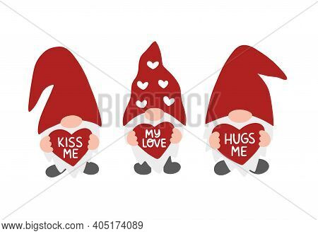 Valentines Day Vector Illustration Set. Valentine Gnome Isolated On White Background. Kiss Me, Hugs