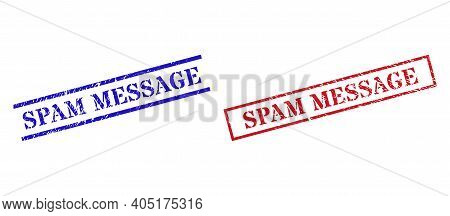 Grunge Spam Message Stamp Seals In Red And Blue Colors. Seals Have Rubber Texture. Vector Rubber Imi