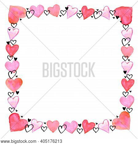 Hand Drawn Square Frame, Border From Watercolor Hearts. Romance Symbol Of Love, Background, Decorati