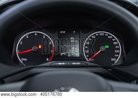 Novosibirsk, Russia - January 14 2021: Volkswagen Polo,round Speedometer, Odometer With A Range Of 9