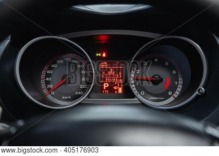 Novosibirsk, Russia - January 14 2021: Mitsubishi Outlander, Round Speedometer, Odometer With A Rang