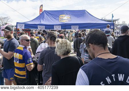 Tauranga New Zealand - September 1 2018; Man In Number 10 Bay Of Plenty Rugby Jersey In Crowd Arrivi