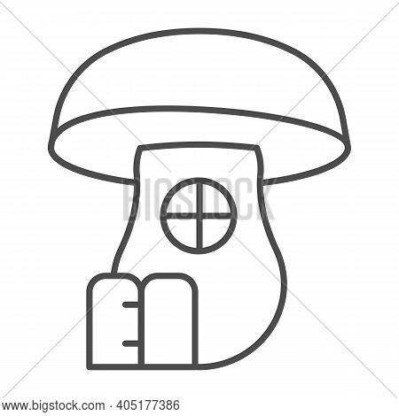 Mushroom House Thin Line Icon, Fairytale Concept, Hobbit House In Form Of Mushroom Sign On White Bac