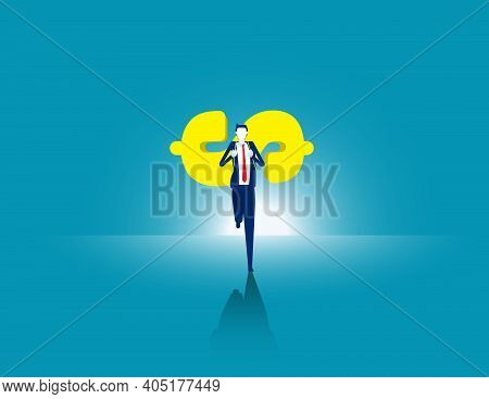 Businessman Carrying Money To Move Forward. Business Finance Effort