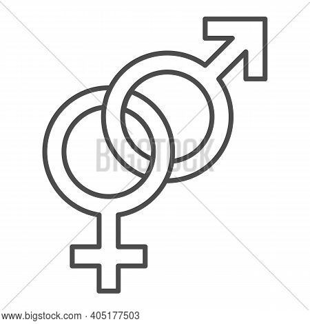 Heterosexual Symbols Thin Line Icon, Valentines Day Concept, Male And Female Sign On White Backgroun