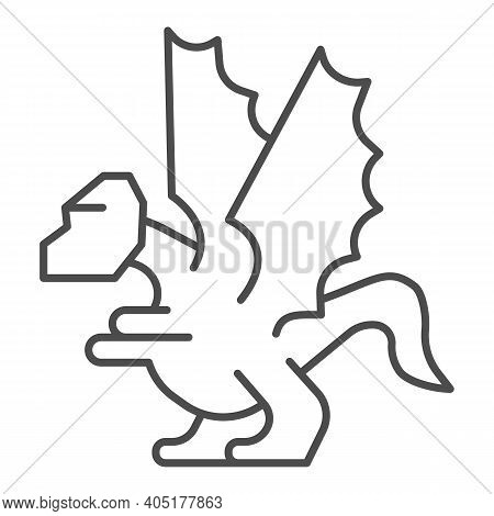 Dragon Thin Line Icon, Fairytale Concept, Mystery Mythical Creature Sign On White Background, Dragon