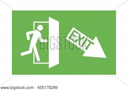 Green Fire Exit Sign. Exit Down To The Right. A Man Running Out The Door. Stock Image. Eps 10.