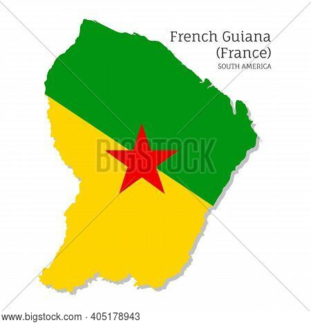 Map Of French Guiana With National Flag. Highly Detailed Editable Map Of French Guiana, South Americ