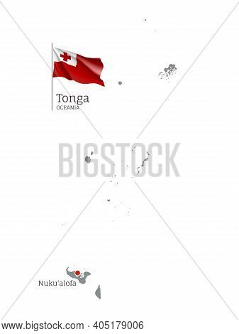 Silhouette Of Tonga Country Map. Gray Detailed Editable Map With Waving National Flag And Nukualofa