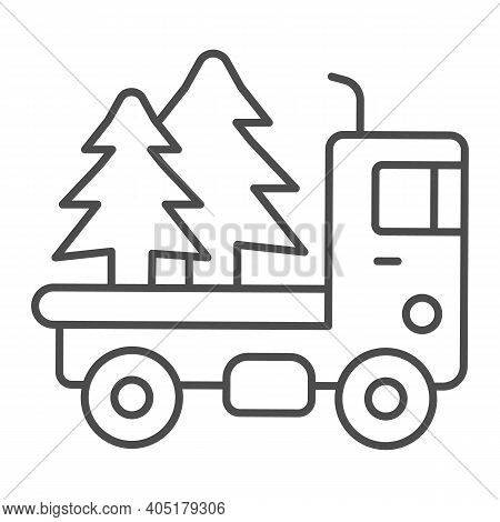 Truck With Christmas Trees Thin Line Icon, Winter Season Concept, Christmas Delivery Sign On White B