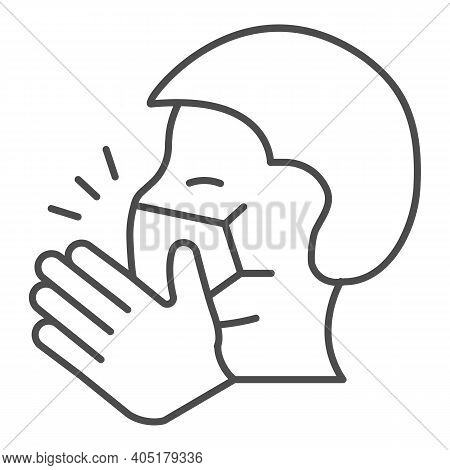Coughing Man In Mask Thin Line Icon, Corona Downturn Concept, Covering Mouth While Coughing Sign On