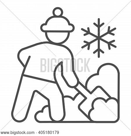 Worker Cleans Snow On Street Thin Line Icon, Winter Season Concept, Sweeper With Shovel Sign On Whit