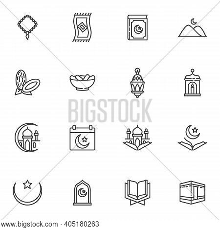Ramadan Kareem Line Icons Set, Outline Vector Symbol Collection, Linear Style Pictogram Pack. Signs