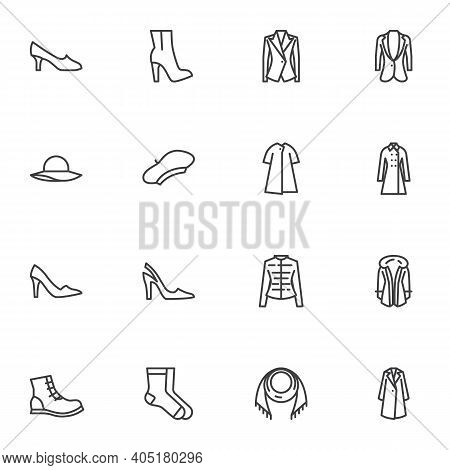 Women Clothing Line Icons Set, Outline Vector Symbol Collection, Linear Style Pictogram Pack. Signs,