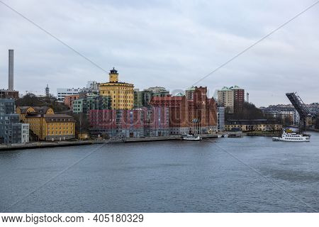 Stockholm, Sweden - January 16, 2020: View Of The City Of Stockholm From The Deck Of A Ship.
