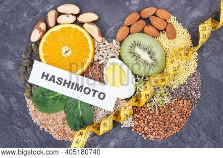 Nutritious Natural Ingredients In Shape Of Thyroid. Healthy Lifestyles And Food Containing Vitamins