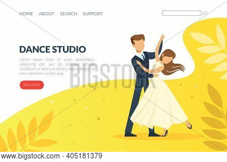 Dance Studio Landing Page Template, Couple Dancing At Dance Class, Modern And Classical Choreography