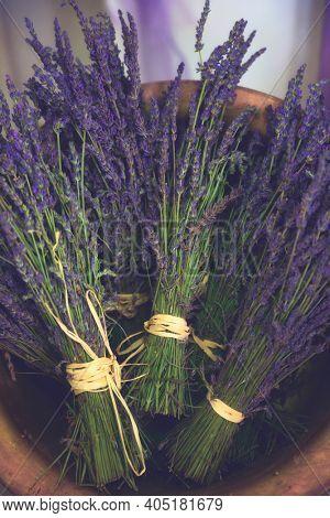 Bouquets of violet lavendula flowers, Old Style Toned, Lavender vintage. Lavender bouquet in basket