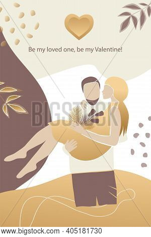 Vector Valentine's Day Card, Story Or Poster, Abstract Man And Female Shapes And Silhouette In Gold