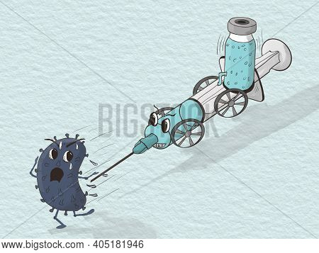 Cartoon Style Drawing Of A Syringe With Wheel And Load Of Medicine Chasing A Virus
